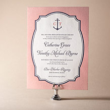 Harbor Beach Letterpress Invitation Design Small
