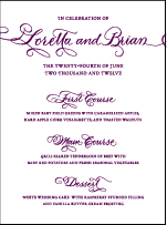 Loretta Formal Letterpress Menu Design Small