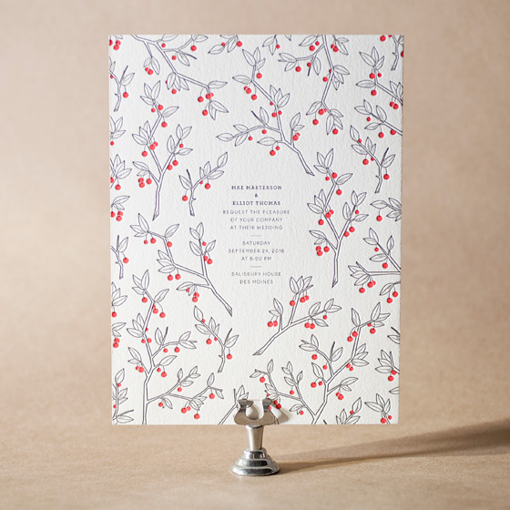 Mae Letterpress Invitation Design Small