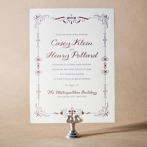 Melodie Frame Letterpress Invitation Design Small