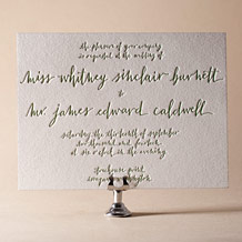 Mitty Calligraphy Letterpress Invitation Design Small
