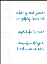 Mitty Calligraphy Letterpress Save The Date Design Small