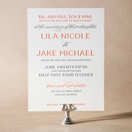 Modern Basel Letterpress Invitation Design Small