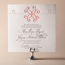Modern Brooch Letterpress Invitation Design Small