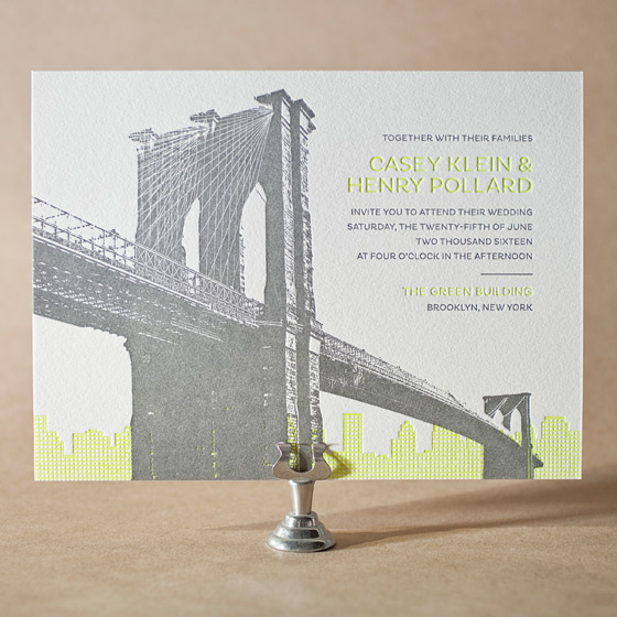 Modern Brooklyn Letterpress Invitation Design Small