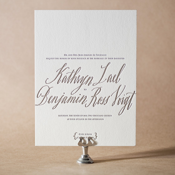 Modern Chateau Letterpress Invitation Design Small