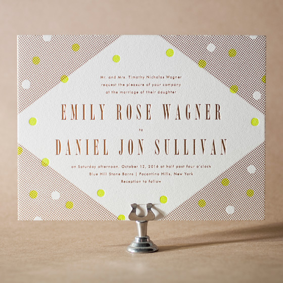 Modern Dot Letterpress Invitation Design Small