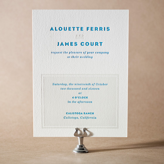 Modern Literate Letterpress Invitation Design Small