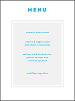 Modern Literate Letterpress Menu Design Small