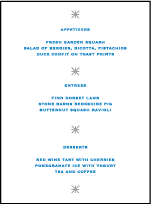 Modern Starlight Letterpress Menu Design Small