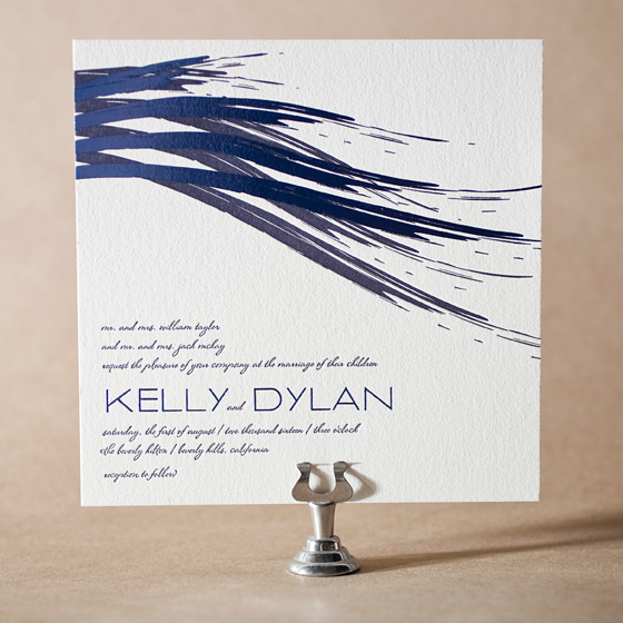 Modern Stroke Letterpress Invitation Design Small