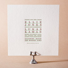 Modern Surf Letterpress Invitation Design Small