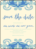 Modern World Letterpress Save The Date Design Small
