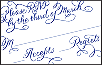 New Calligraphy Letterpress Reply Postcard Front Design Small