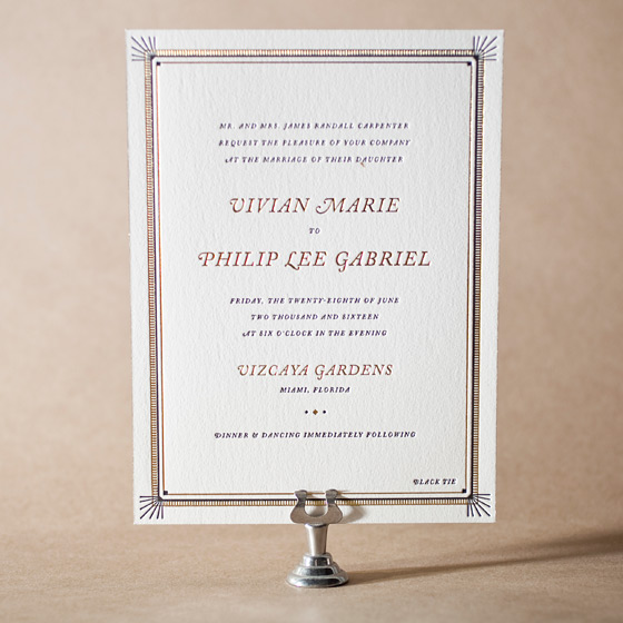 Odeon Letterpress Invitation Design Small