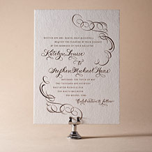 Ornate Flourish Letterpress Invitation Design Small