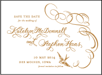 Ornate Flourish Letterpress Save The Date Design Small