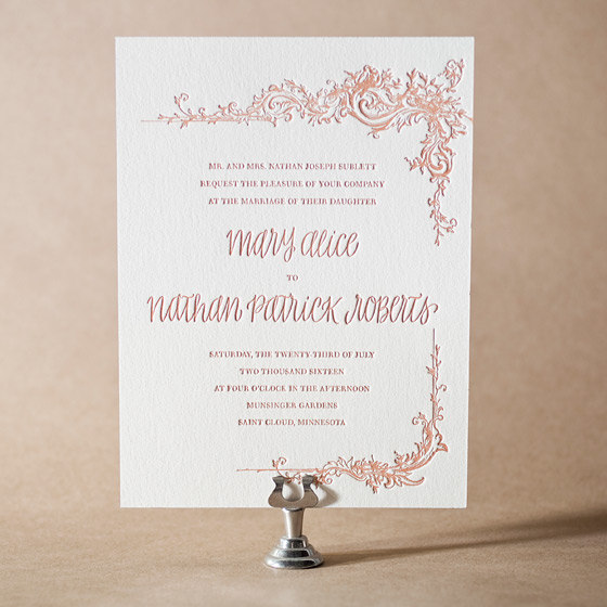 Palace Garden Letterpress Invitation Design Small