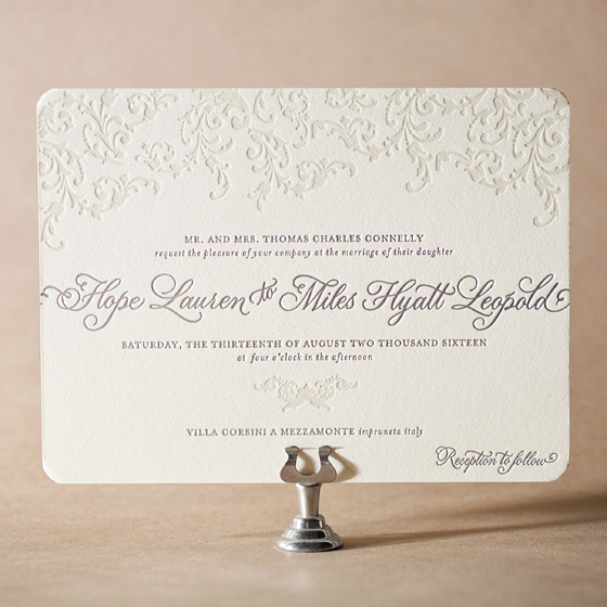 Ravenna Letterpress Invitation Design Small