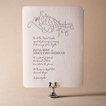 Ribbon Heart Letterpress Invitation Design Small