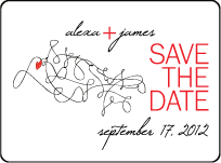 Ribbon Heart Letterpress Save The Date Design Small