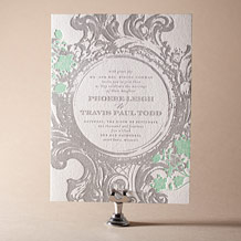 Rococo Elegance Letterpress Invitation Design Small