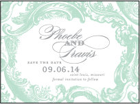 Rococo Elegance Letterpress Save The Date Design Small