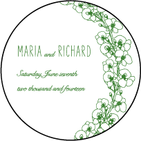 Romantic Floral Letterpress Coaster Design Small