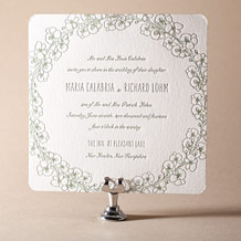 Romantic Floral Letterpress Invitation Design Small