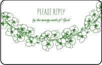 Romantic Floral Letterpress Reply Postcard Front Design Small
