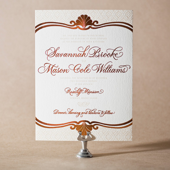 Rosecliff Letterpress Invitation Design Small