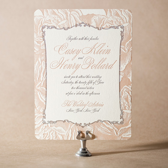 Roslyn Frame Letterpress Invitation Design Small