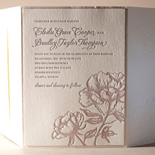 Royal Peony Letterpress Invitation Design Small