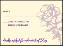 Royal Peony Letterpress Reply Design Small