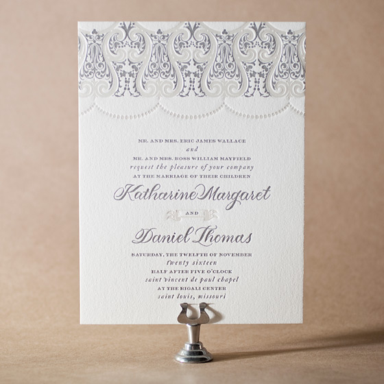 Royal Valance Letterpress Invitation Design Small