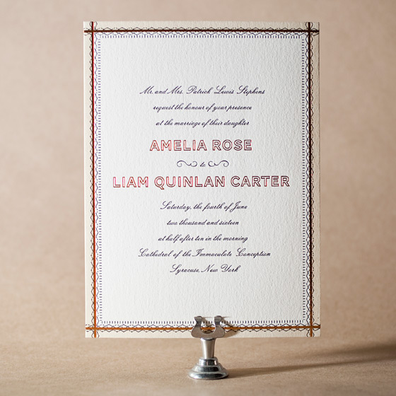 Sampler Letterpress Invitation Design Small