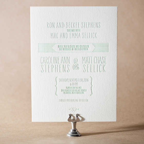 Sellick Modern Letterpress Invitation Design Small