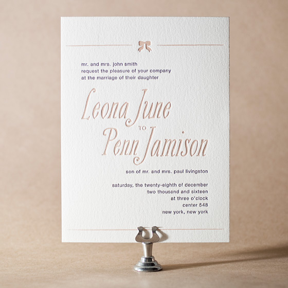 Simple Bow Letterpress Invitation Design Small