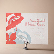 Simple Poppy Letterpress Invitation Design Small