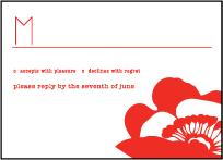 Simple Poppy Letterpress Reply Design Small