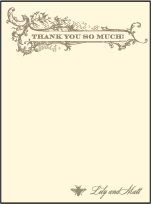 Splendor Letterpress Thank You Card Flat Design Small