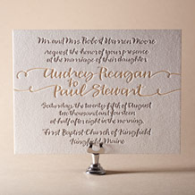 String Calligraphy Letterpress Invitation Design Small