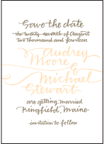 String Calligraphy Letterpress Save The Date Design Small