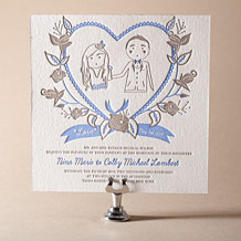 Sweet Heart Letterpress Invitation Design Small