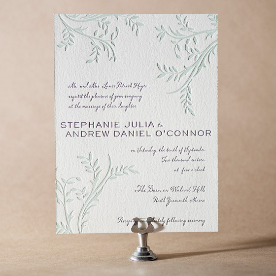 Sweet Laurel Letterpress Invitation Design Small
