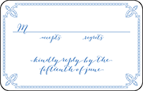 Tailored Letterpress Reply Postcard Front Design Small