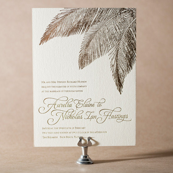 Traditional Palm Letterpress Invitation Design Small
