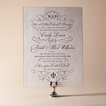 Traditional Script Letterpress Invitation Design Small