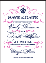Traditional Script Letterpress Save The Date Design Small