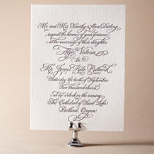 Victoria Calligraphy Letterpress Invitation Design Small
